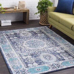 Shop For Wyclif Traditional Distressed Bright Blue/Black Area Rug ByBungalow Rose