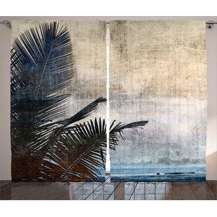 Palm Tree Leaves Graphic Print Room Darkening Rod Pocket Curtain Panels Set Of 2