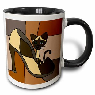 Waskom Fun Siamese Kitty Cat Sitting in High Heel Shoe Coffee Mug