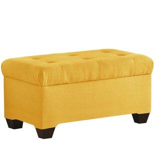 Alcott Hill Linen Upholstered Storage Bench
