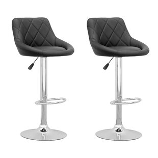 Dev Adjustable Height Swivel Bar Stool (Set of 2)