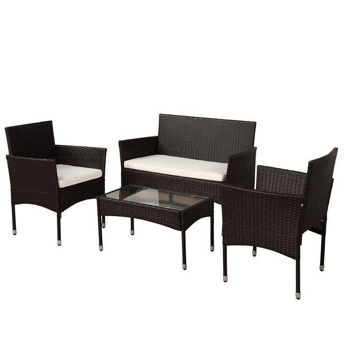 4-Piece Moro Rattan Sofa Seating Group With Cushions
