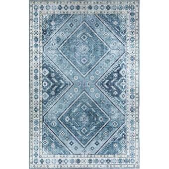 Bungalow Rose Yate Oriental Blue Area Rug Reviews Wayfair