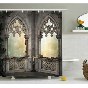 Gothic Oriental Rose and Flower Shower Curtain + Hooks