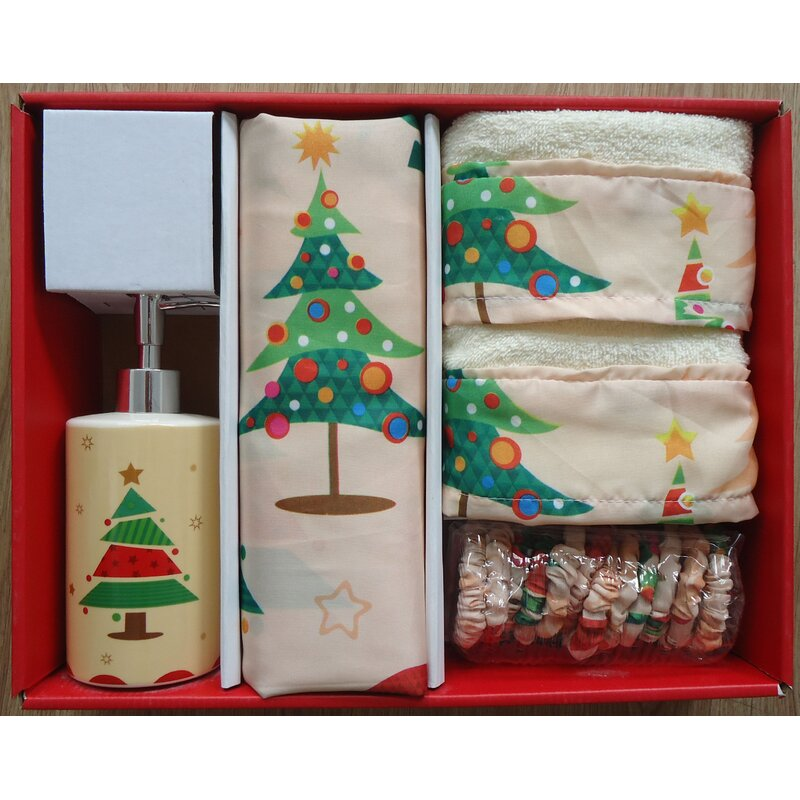 Carnation Home Fashions O Christmas Tree Holiday Print Bath Set Reviews Wayfair
