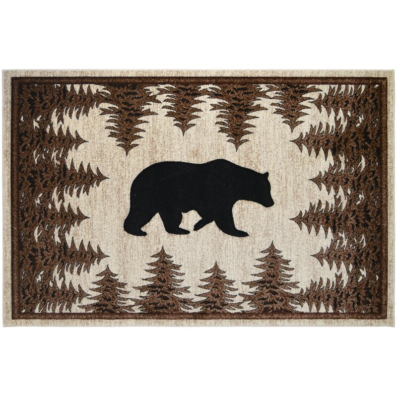 Large Area Rugs Runner Accent For Living Room Cabin Lodge Brown Bear Home Decor