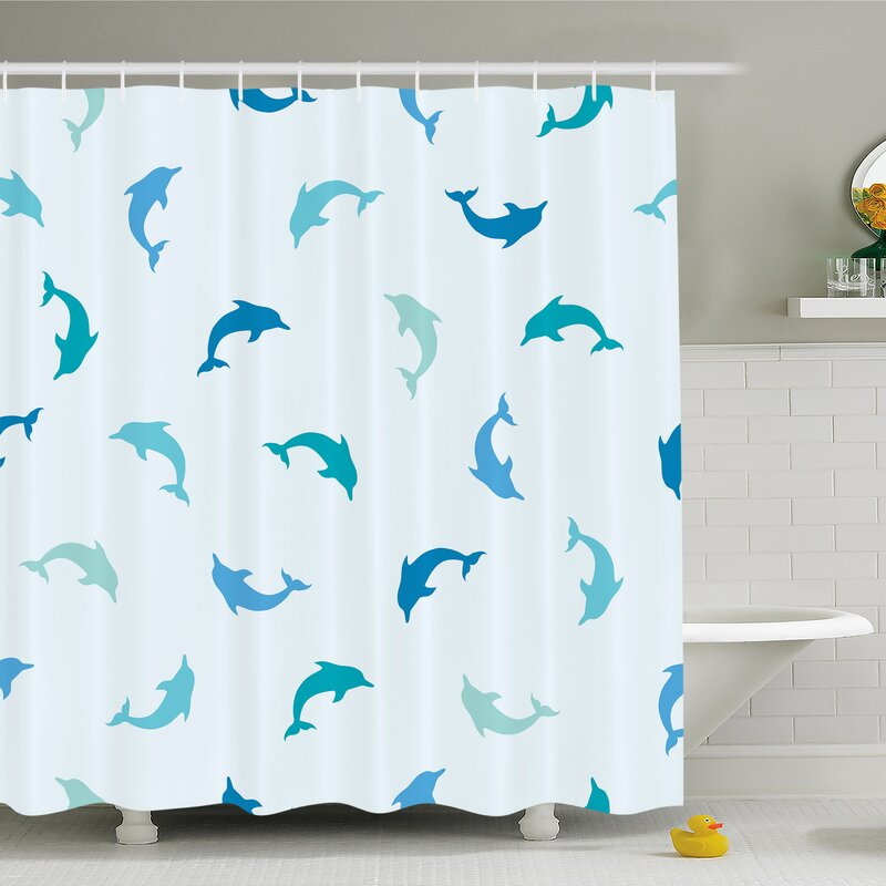 Sea Animals Leaping And Playing Dolphin Figures Aquatic Animal Marine Shower Curtain Set