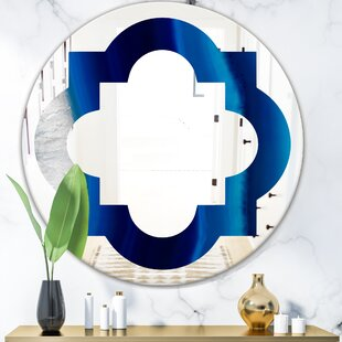 Quatrefoil Crystal Stones Eclectic Frameless Wall Mirror by East Urban Home