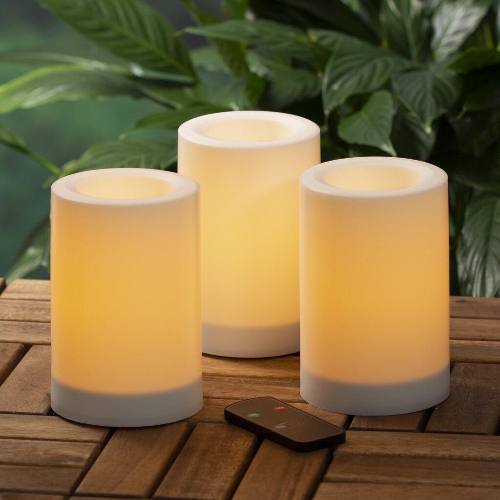 Ebern Designs 4 Piece Pillar Unscented Flameless Candle Set Reviews Wayfair