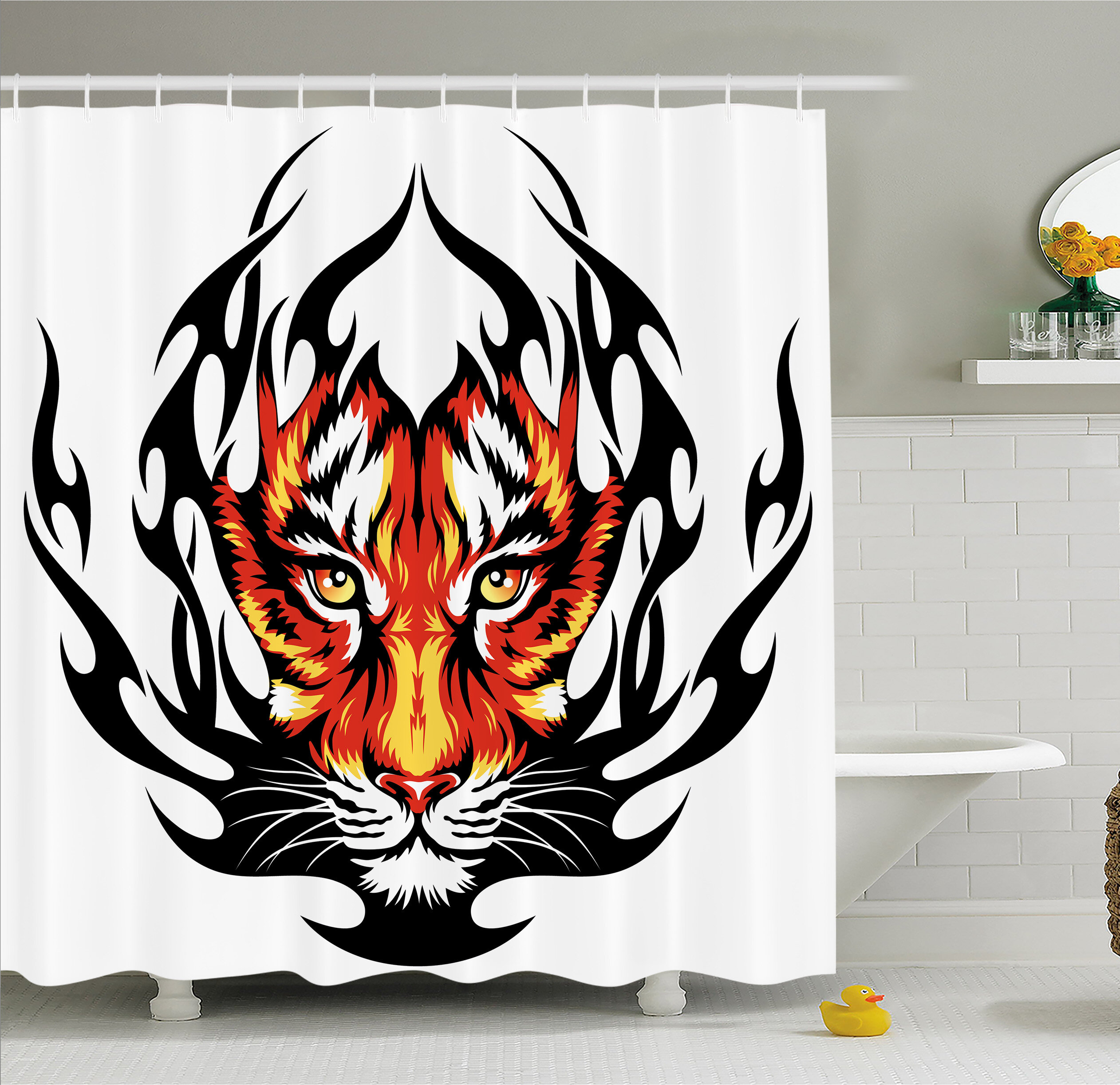 Ambesonne Tattoo Jungles Prince Tigers Head In Flames Frame Looking With Cat Eyes Shower Curtain Set