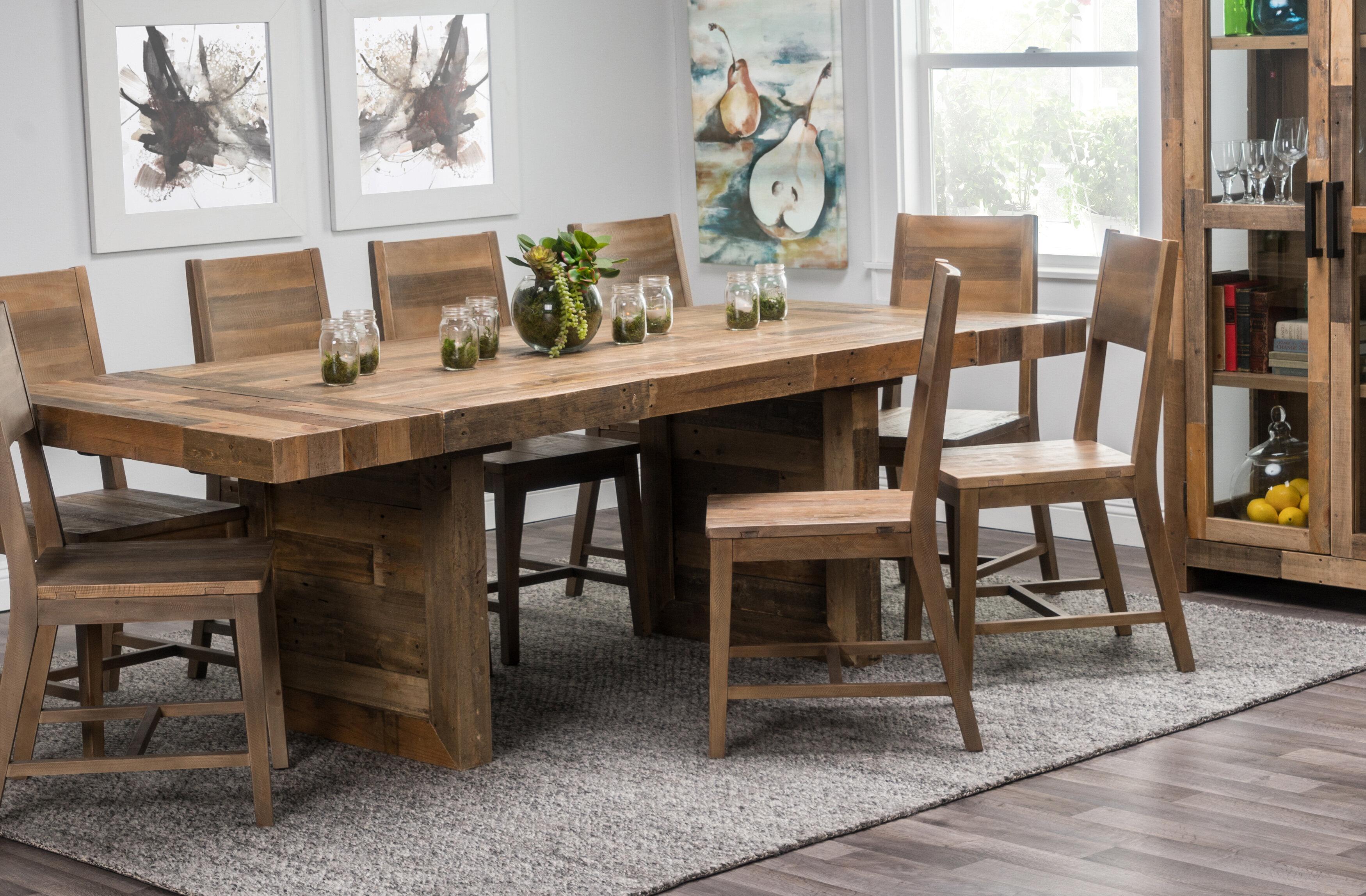Birch Lane Fredricks Extendable Pine Solid Wood Trestle Dining Table Reviews Wayfair