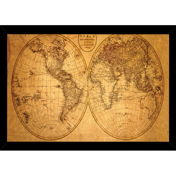 Old World Map Framed Graphic Art Print Poster