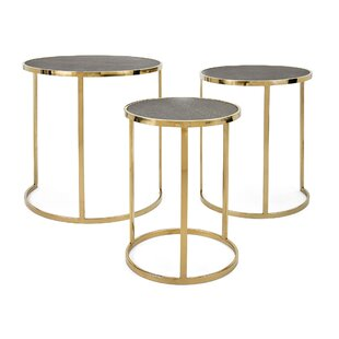 Gracelynn Stainless Steel 3 Piece Nesting Tables