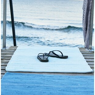 Handwoven Cotton Eternity Blue Area Rug by Rug Solid