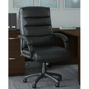 Bush Business Furniture Soft Sense Mid Back Leather Executive Office Chair in Black
