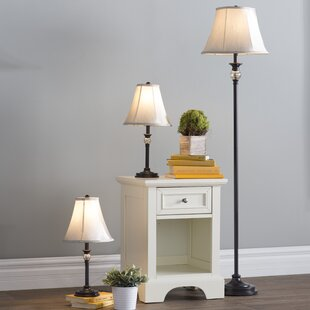 Three Posts Gallipolis 3 Piece Table and Floor Lamp Set