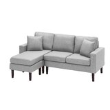 Jefcoat 77.16 Wide Reversible Sofa & Chaise with Ottoman by George Oliver
