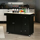 Ronny Drop-leaf Solid Wood Kitchen Island by Red Barrel Studio®