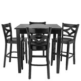 Mignone 5 Piece Counter Height Solid Wood Dining Set by Bloomsbury Market