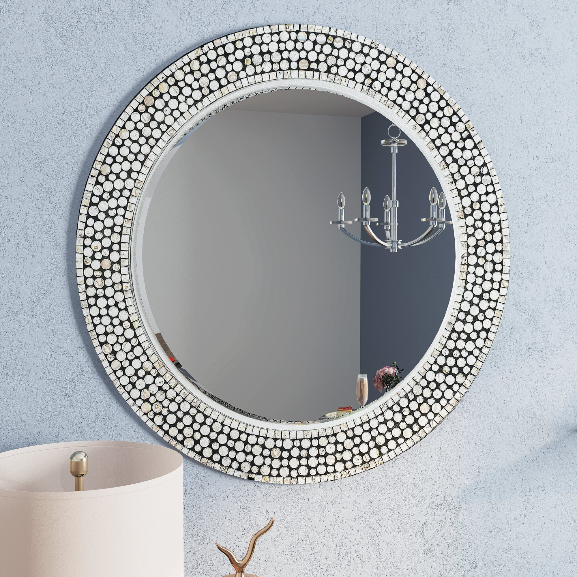 Willa Arlo Interiors Dhruv Round Gray Decorative Wall Mirror Reviews Wayfair