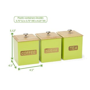 Environment Friendly Bamboo 3 Piece Kitchen Canister Set