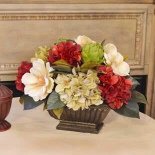 Hydrangea and Magnolia Centerpiece in Planter