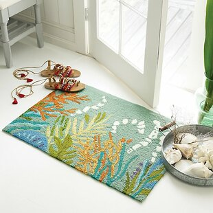Under the Sea Hand-Hooked Blue/Orange/Green Indoor/Outdoor Area Rug