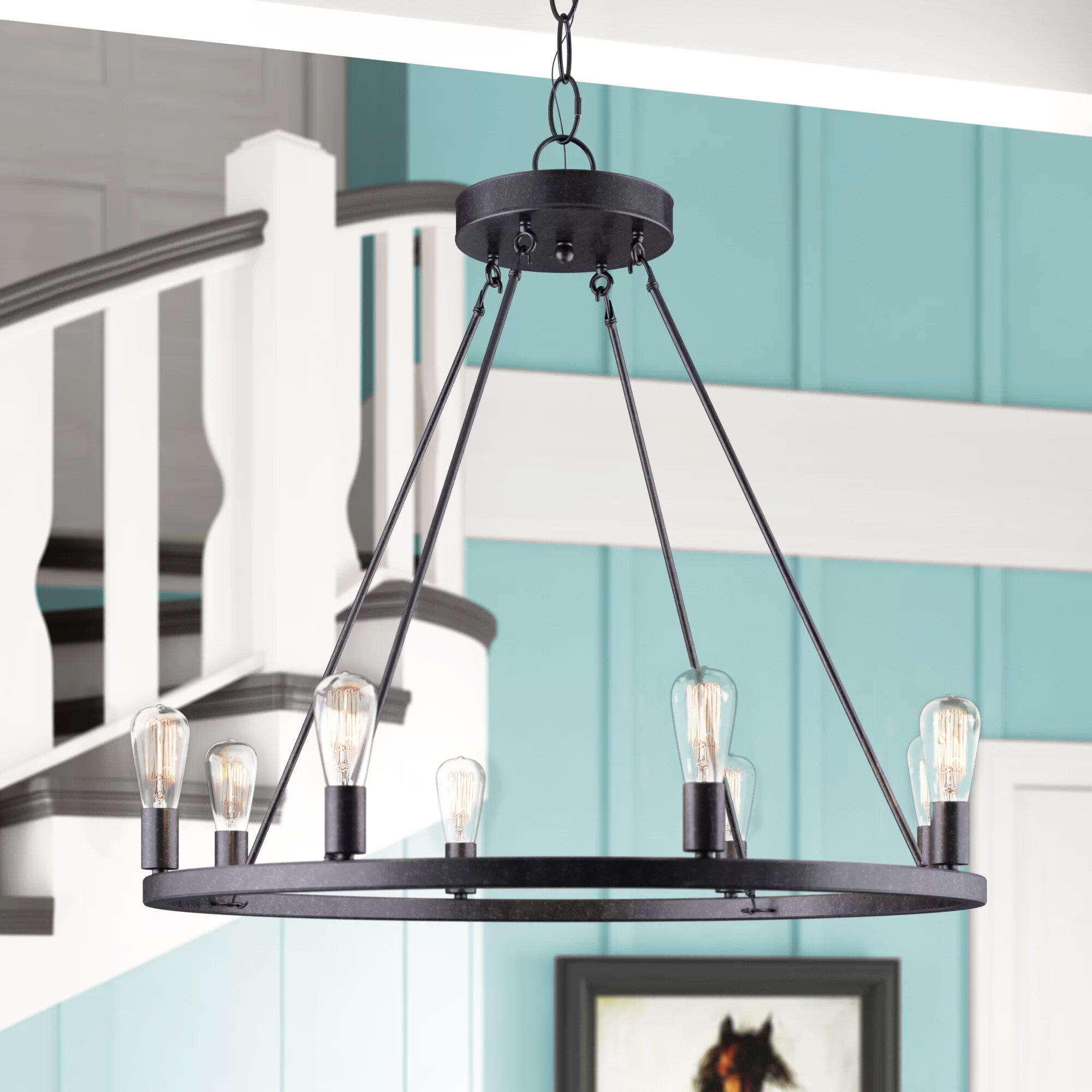 Gracie Oaks Charndon 8 Light Candle Style Wagon Wheel Chandelier Reviews Wayfair