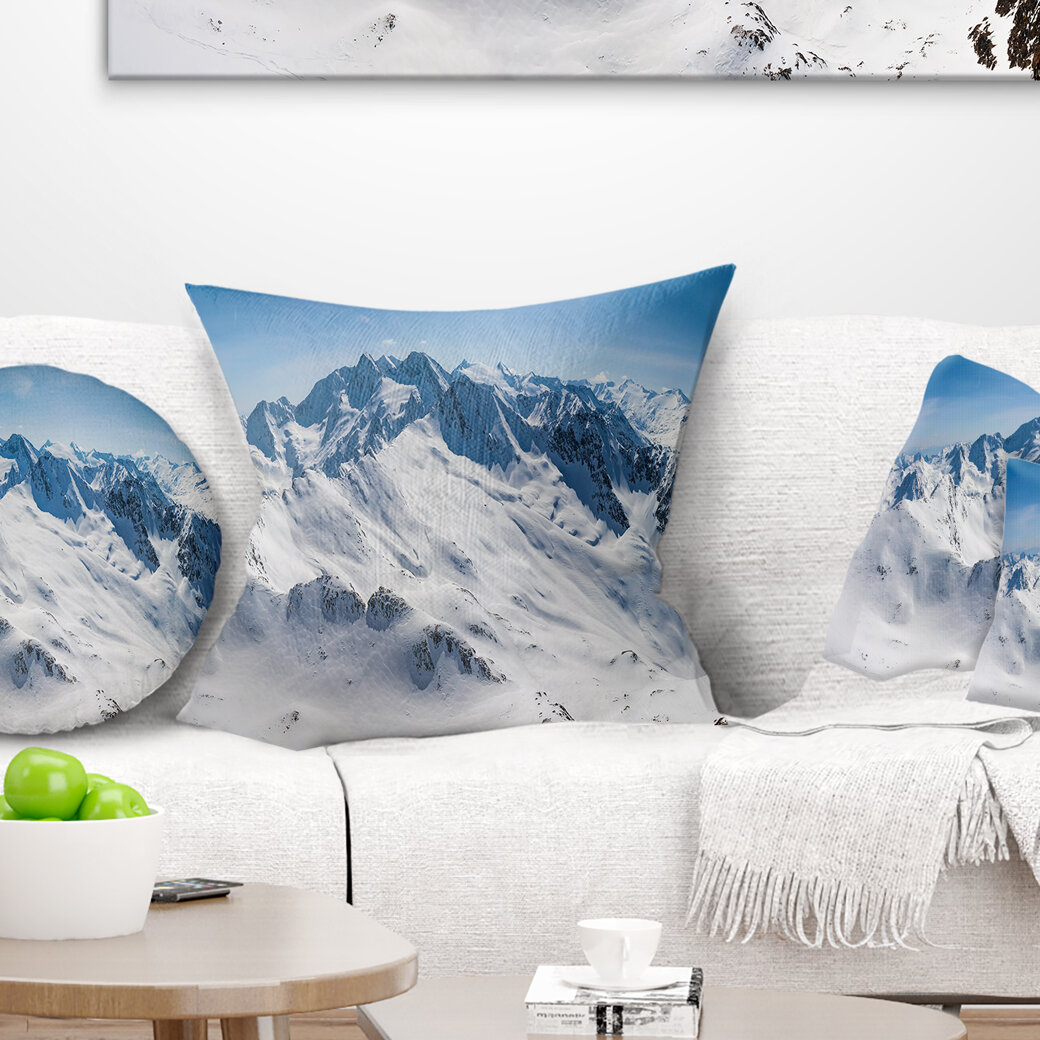 East Urban Home Landscape Printed Snowy Mountains Panoramic View Pillow Wayfair