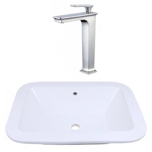 American Imaginations Ceramic Rectangular Dual Mount Bathroom Sink with Fa..