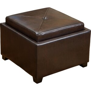 Drexel Leather Tray Top Storage Ottoman by Home Loft Concepts
