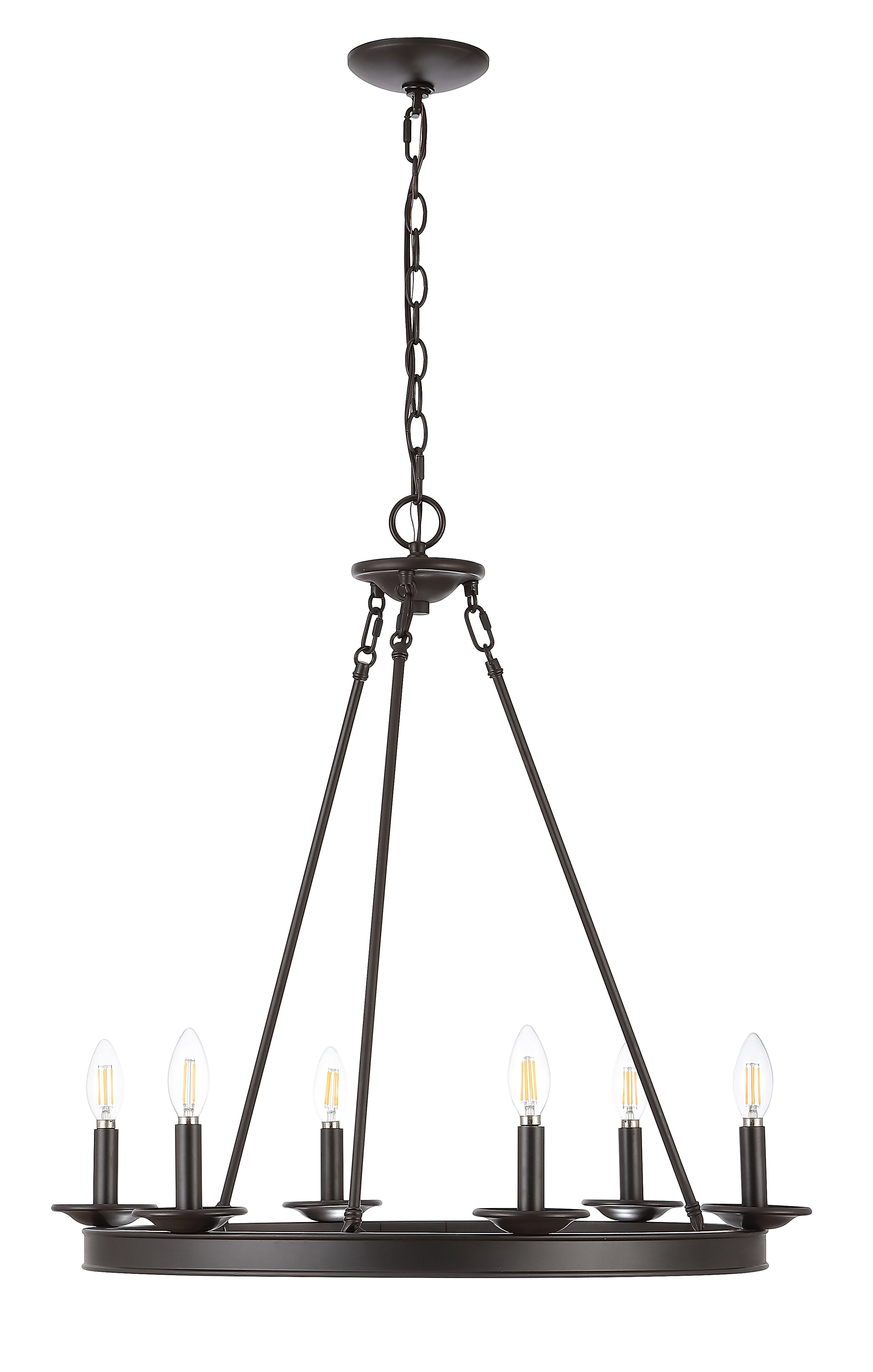 Ivy Bronx Narron 6 Light Candle Style Wagon Wheel Chandelier Reviews Wayfair