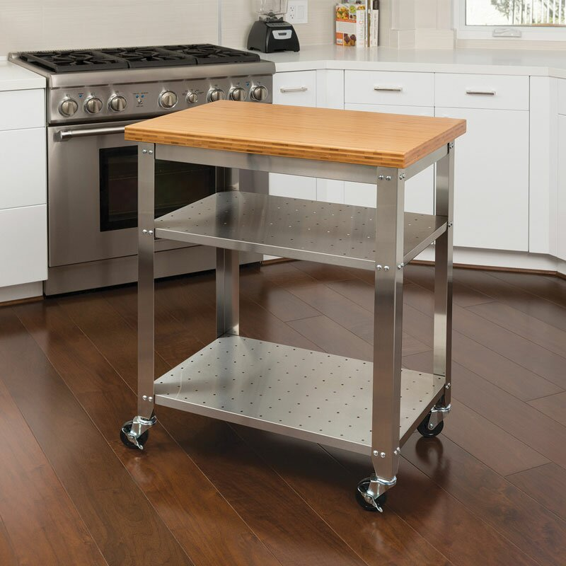 Red Barrel Studio Irene Kitchen Work Table Kitchen Cart with Bamboo ...