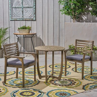 Estrela 3 Piece Bistro Set With Cushions by Bungalow Rose Today Only Sale