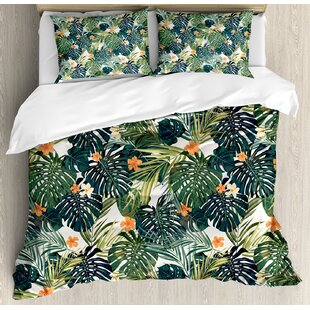 East Urban Home Botanic Tropic Leaves and Flowers Hawaiian Summer Plants I..