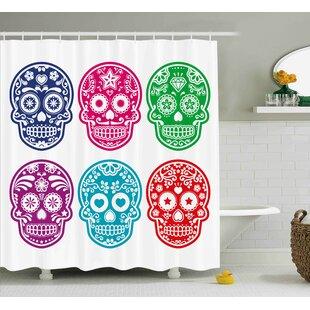 Savannah Day Of The Dead Skull Oriental Mexican Sugar For Festive Shower Curtain