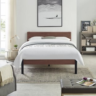 Quentin Wood Slat and Metal Platform Bed