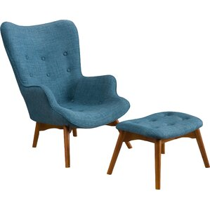 Canyon Vista Mid Century Wingback Chair And Ottoman