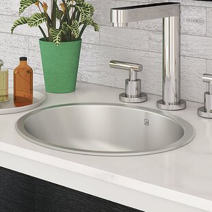 DECOLAV Taji Stainless Steel Metal Oval Undermount Bathroom Sink with Overflow