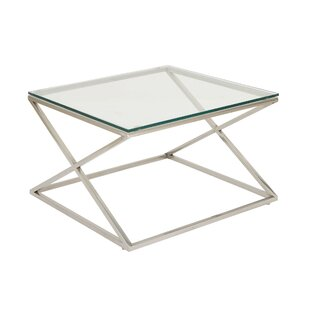 Cole & Grey Stainless Steel and Glass Coffee Table