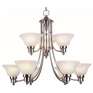 TransGlobe Lighting Contemporary 9-Light Shaded Chandelier