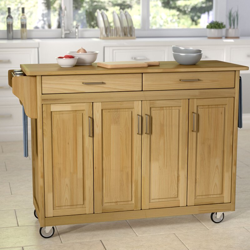 August Grove Regiene Kitchen Island With Natural Wood & Reviews