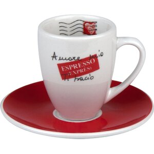Coffee Bar Amore Mio 3 oz. Espresso Doppio Cup and Saucer (Set of 4)