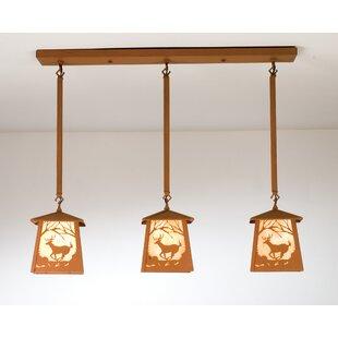 Deer at Dawn 3-Light Kitchen Island Pendant by Meyda Tiffany