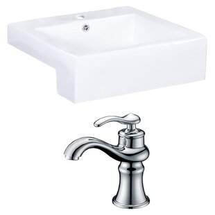 Best Price Xena Farmhouse Semi-Recessed Ceramic Rectangular Vessel Bathroom Sink with Faucet and Overflow By Royal Purple Bath Kitchen