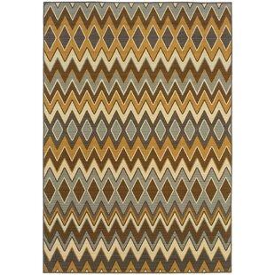 Camarena Yellow/Brown/Gray Indoor/Outdoor Area Rug by George Oliver