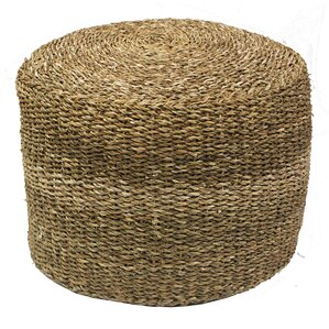 Crofton Round Pouf Sea Grass Ottoman by Rosecliff Heights