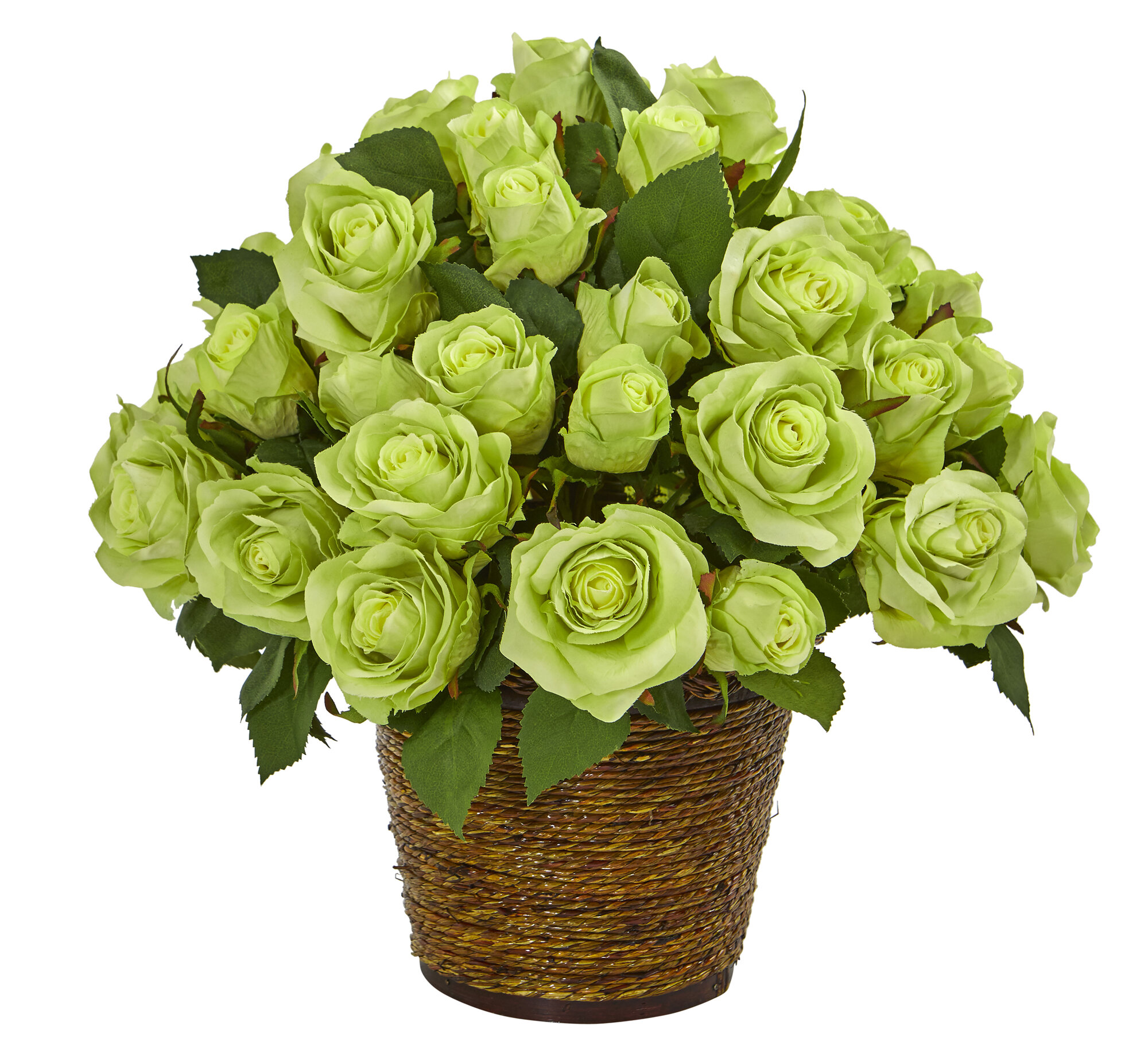 Ebern Designs Artificial Roses Floral Arrangements In Basket Wayfair