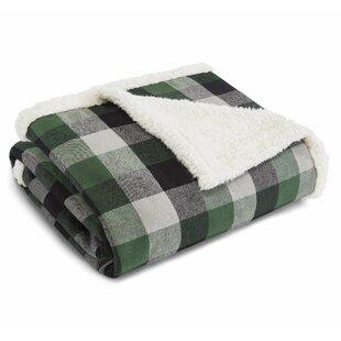 Finley Plaid Flannel Sherpa Fleece Throw