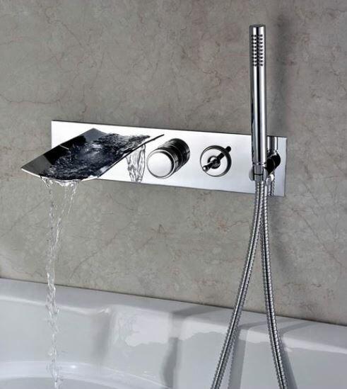 Sumerain Double Handle Wall Mount Waterfall Tub Faucet With Handshower U0026  Reviews | Wayfair